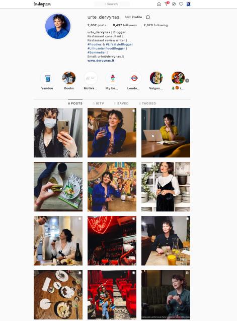 Urte Dervynas instagram